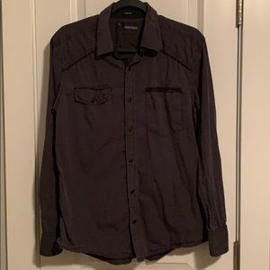 Buckle Black Gray Button Down Long-sleeved Shirt